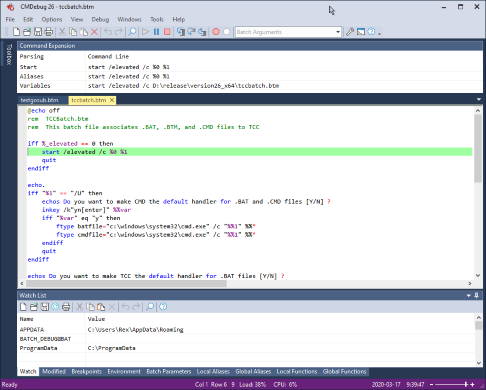 CMDebug : IDE / Batch Debugger for CMD and TCC-RT Batch Files