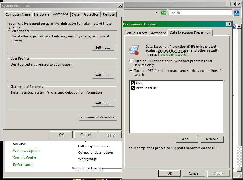 Windows DEP dialog