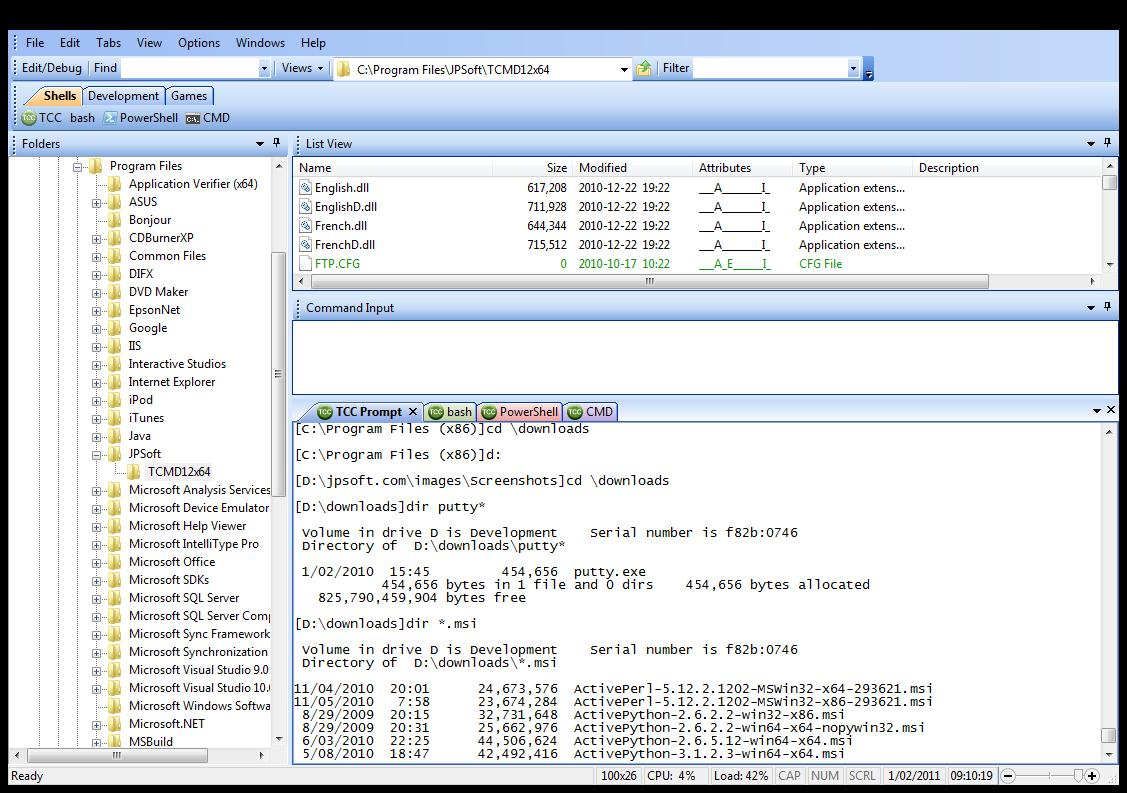 Screenshot of Take Command